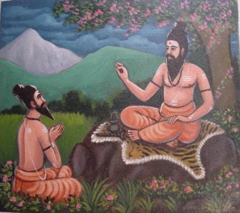 Bhogar receiving instructions from his teacher, Kaalaangi Naathar