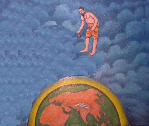 Bhogar, traversing the sky, observes faraway places like Arabia, Rome, and China.